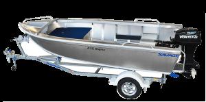 Brand new Savage 425 and 445 Osprey open tiller steer aluminium boats.