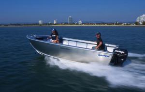Brand new Savage 455, 485 and 525 Safari open tiller steer aluminium boats.