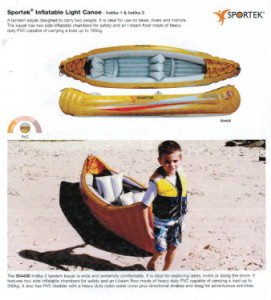 Sportek Indika inflatable canoe with 2 canoe paddles for only $159! Save $200.