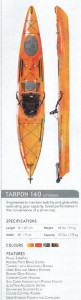 Brand new Tarpon 140 Sit on top touring kayak with rudder reduced from $2319 to $1879!  (SAVE $439 - 1 only)