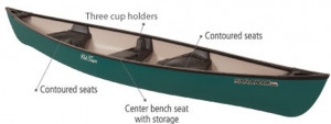 Brand new indestructable polyethylene Old Town Saranac 146 XT 3 seater canadian canoe for only $1429 with 2 free paddles.