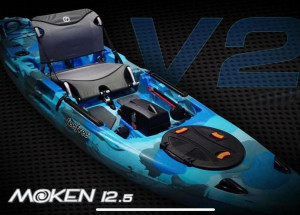 Brand new Feel Free Moken 12.5 V2 sit on top fishing kayak with rudder (New Model Upgrade)