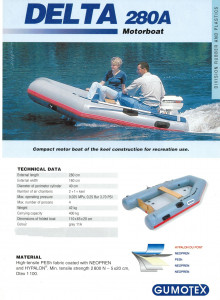 Used Gumotex Delta 280 HYPALON airdeck inflatable boat in excellent condition.